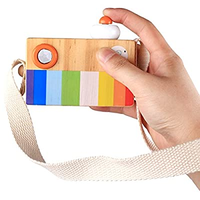 Yinrunx Wooden Mini Camera Toy, Creative Hanging Kaleidoscope Camera Picture Lens Pretending Toys for Children,Pillow Kids' Room Hanging Decor Portable Toy Gift for Kids and Toddlers: Toys & Games