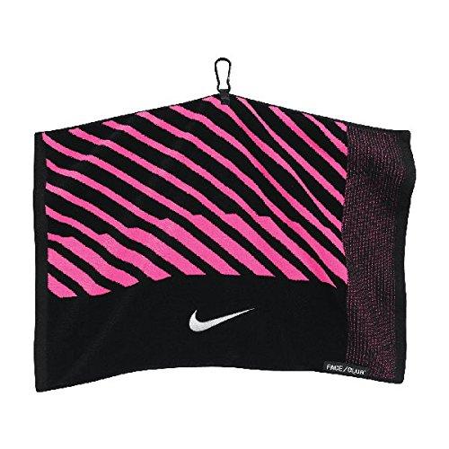 (Nike Face/Club Jacquard Golf Towel, Black/White/Pink)
