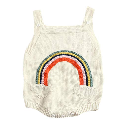 NUWFOR Newborn Baby Girls Boys Rainbow Knitted Toddler Overall Jumpsuit Clothes Outfits(White,3-6 Months)