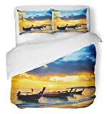 Emvency Bedsure Duvet Cover Set Closure Printed Decorative Blue Sea Traditional Thai Boats at Sunset Beach Ao Nang Krabi Province Orange Breathable Bedding Set With 2 Pillow Shams Twin Size