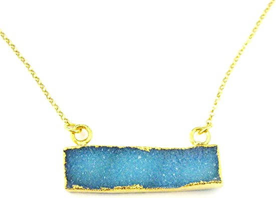 Large Green Druzy Agate Gemstone Bar Necklace Gold plated Sterling Silver Beaded Necklace Chain