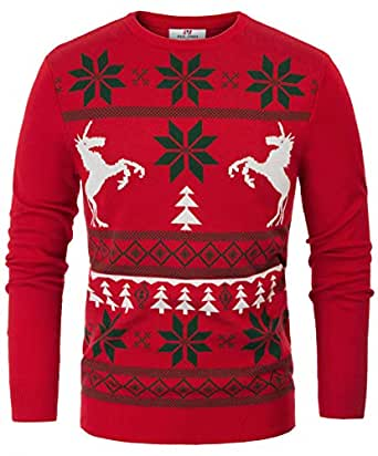 PJ PAUL JONES Mens Slim Fit Christmas Snowflake Long Sleeve Ugly Pullover Sweater (S, RED)