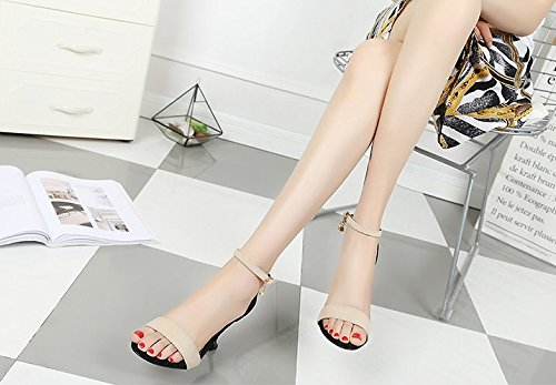 Match Suede Beige Heels MDRW Sandals Simple Work All Shoes Leisure 9Cm A Lady With 35 Fine Toe Elegant Spring Buckle High Z1xZTw6qz