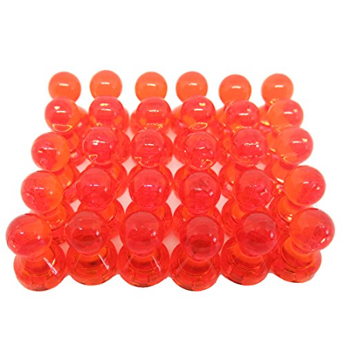 Anfukon 30 Pcs Orange Magnetic Push Pins,Perfect as Whiteboard Magnets,Refrigerator Magnets,Maps Magnets and Calendar Magnets use in Office and Kitch(Pack of 30)