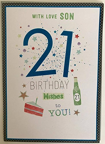Image Unavailable Not Available For Color Son Age 21st Morden 21 Happy Birthday Greeting Card