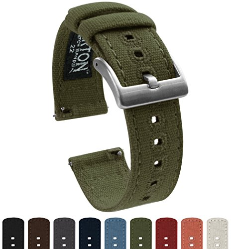 BARTON Canvas Quick Release Watch Band Straps - Choose Color & Width - 18mm, 20mm, 22mm - Army Green 22mm