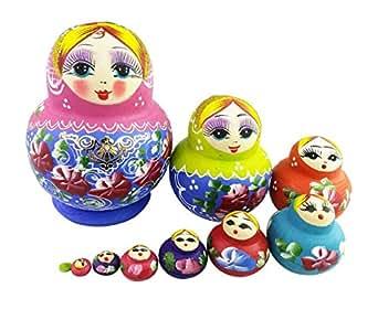 Set of 10 Cutie Lovely Pink Blue Gold Nesting Dolls Matryoshka Madness Russian Doll Popular Handmade Kids Girl Gifts Toy