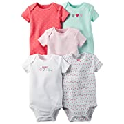 William Carter Girls 5 Pack Short Sleeve Bodysuit Undershirt Set Super Cute, 9 Months