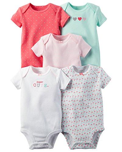 William Carter Girls 5 Pack Short Sleeve Bodysuit Undershirt Set Super Cute, 12 Months