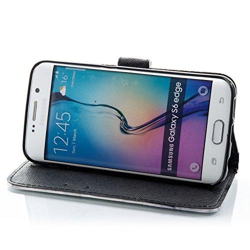 Samsung Galaxy S6 Edge Hülle , COZY HUT Ultra Slim Schutzhülle für Samsung Galaxy S6 Edge Multi-function Wallet Case Hülle 2 in 1 Detachable Kette Cover Case Leather hülle Tasche Schutzhülle Etui Flip beige Marmor