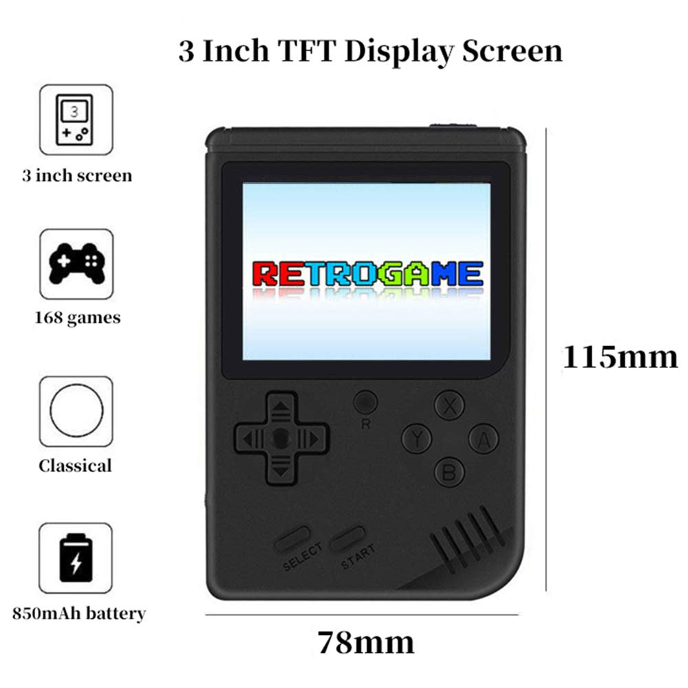 MyArTool Retro FC Handheld Game Console, Built-in Up to 168 8bit Classic Games 3 Inch LCD Screen Portable Video Game Consoles Synchronize with TV and Support for Two Players by MyArTool (Image #3)