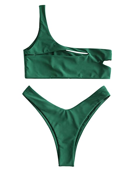 598a9fda42939d Amazon.com  ZAFUL Womens Sexy One Shoulder Cut Out Bralette Bikini Set High  Cut Bottom Swimwear  Clothing