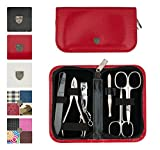 3 Swords Germany - brand quality 6 piece manicure pedicure grooming kit set for professional finger & toe nail care scissors clipper fashion leather case in gift box, Made in Solingen Germany (03706)