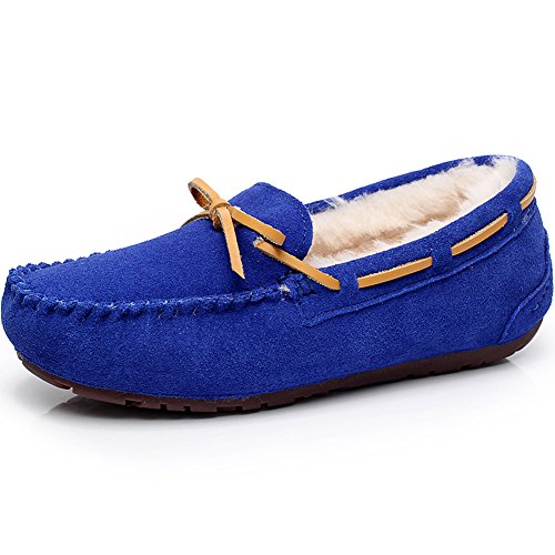 rismart Womens High-End Sheepskin Wool Lining Warm Slippers Winter Suede Moccasins Flat Loafers Royal Blue S1017 US5.5 zO6BcI6f