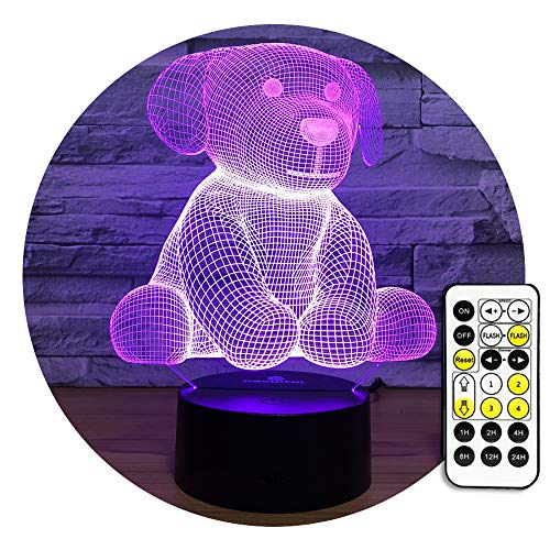 Easuntec Kids Night Light Dog Night Light 7 Colors Change with Remote Baby Rest Night Light Birthday Gift idea for Kids (Dog)