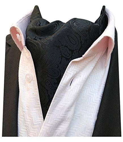 (MENDENG Mens Black Gold Paisley Jacquard Woven Silk Cravat Formal Self Tie Ascot)