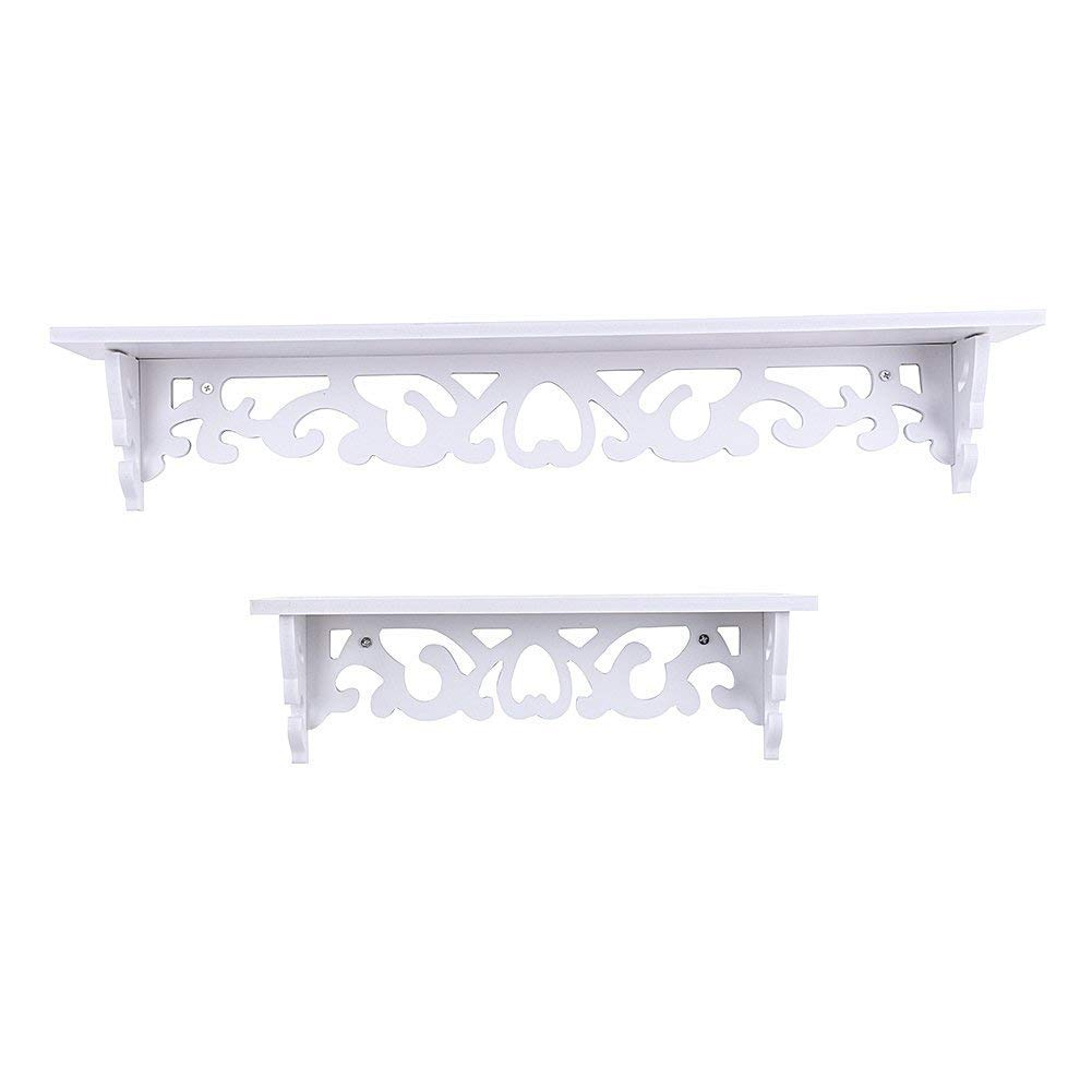 Yosoo 1 Pair White Wooden Chic Filigree Style Decorative Floating Wall Shelf, Cutout Design Shelves (1 Pair Large+Small) by Yosoo
