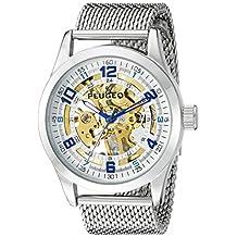 Peugeot Men's 1050S Skeleton Stainless Steel Mesh Bracelet Analog Display Mechanical Hand Wind Silver Watch