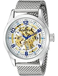 Peugeot Mens 1050S Mechanical Skeleton Stainless Steel Analog Hand-Wind Silver-Tone Watch