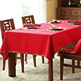 DIDIDD Deer Velvet Tablecloth European-Style Dining Table Cloth Table Cloth Table Cloth,A,diameter210cm(83inch)