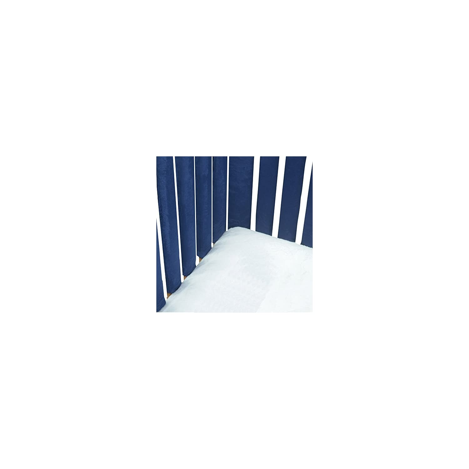 Pure Safety Vertical Crib Liners in Luxurious Navy Minky 2 Pack