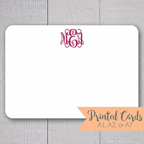 monogrammed note cards 24pk initialed note cards personalized flat note cards printed - Personalized Flat Note Cards