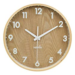 12'' Silent Wall Clock Wood Non Ticking Digital Quiet Sweep Home Decor Vintage Wooden Clock