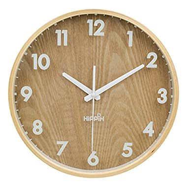 Hippih 12 Silent Wall Clock Wood Non Ticking Digital Quiet Sweep Home Decor Vintage Wooden Clocks(number)