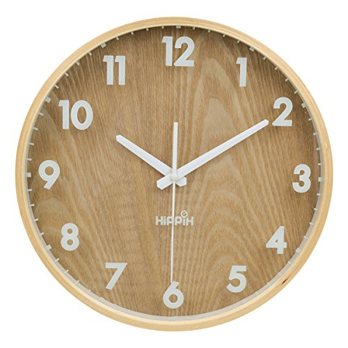 """Yoobure 12"""" Silent Wall Clock Wood with Glass Cover Non Ticking Digital Quiet Sweep Home Decor Vintage Wooden Clock"""