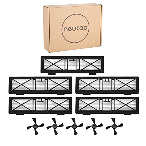 Neutop 5pcs Ultra Performance Filters+5pcs Side Brushes Kit Replacement for Neato Botvac Connected D3 D5, Botvac D Series D80 D85, and All Botvac Series