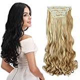 REECHO 16' Curly Wavy 4 Pieces Blonde Mixed Clip in on Hair Extensions 25H613