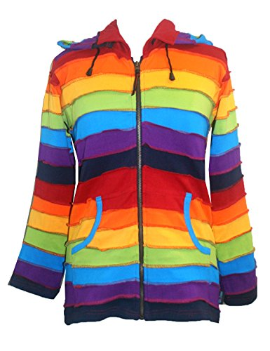 R-342 Rainbow Elf Hoodie Hippie Gypsy Cotton Bohemian Jacket ~ XXL