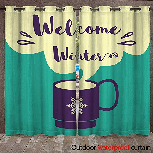 (Outdoor Curtain for Patio Welcome Winter Card with a Cup of Coffee W72 x L108)