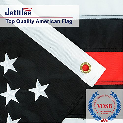 Black White Thin Red Line American Flag 3x5 Ft by US Veterans Owned Biz. Heavy Use Nylon Embroidered Stars Sewn Stripes Fast Dry, All Weather USA Flag-Honoring Firefighter Flags with Brass Grommets