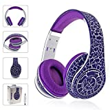 Cywulin Gaming Headset KubiteT-160 Surround Stereo Headband Easy Volume Control Noise Cancelling Headphone with Mic USB LED Light 3.5MM Jack for Smart Phones Laptops Computers MAC PC (Purple)
