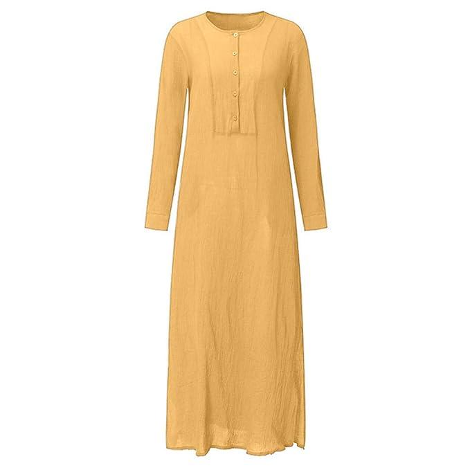 HWTOP Kleider für Damen Elegant T-Shirt Hemd Kleid Langarmkleid Strandkleid  Lose Einfarbig Splits Maxikleid Beiläufige Lange Poncho Frauen Freizeit ... 77f6de718f