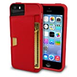 Silk iPhone SE/5s/5 Wallet Case - Q Card Case for iPhone 5 / 5s / SE [Protective CM4 Slim Cover] - Red Rouge