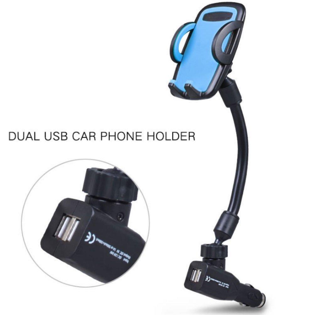 セル電話車ホルダー充電器、ダブルUSBシガレットライター車マウントwithデュアル車充電器ホルダー電話マウント360 °回転クレードルforスマートフォン3 – 6.5インチ幅(マルチカラー) longarmcellphonemount B07BPP93BZ  ブルー