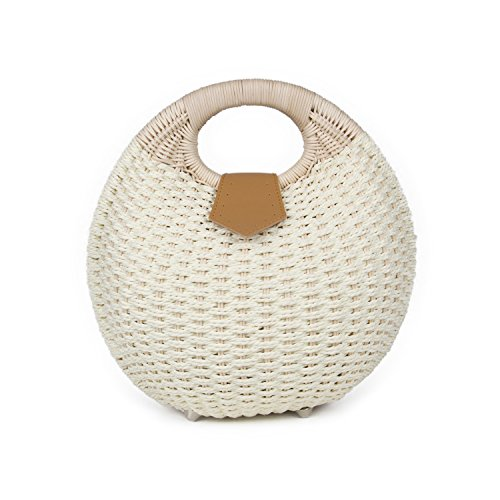 SUKUTU Womens Summer Hand Weave Straw Top Handle Handbag Clutches