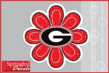 Georgia Bulldogs G Logo Red Flower 2 Vinyl Decal 4