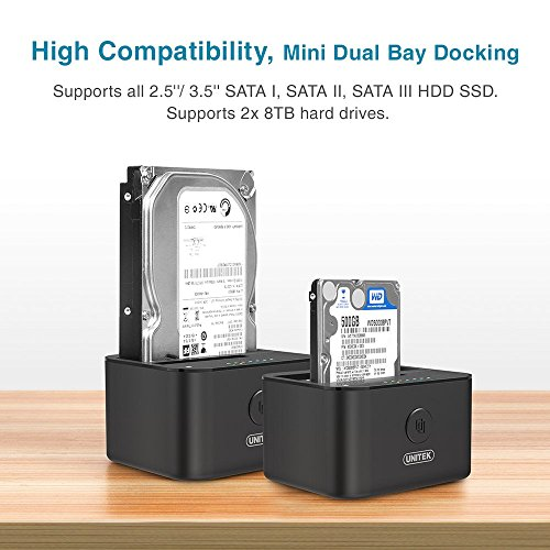 UNITEK USB 3.0 to SATA I/II/III Mini Dual Bay External Hard Drive Docking Station for 2.5/3.5-inch HDD SSD, Offline Clone Duplicator Function Support UASP & 10TB with 12V/3A Power Adapter by Unitek (Image #2)