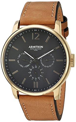 Armitron Men's 20/5217BKGPTN Multi-Function Dial Tan Leather Strap Watch