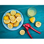 Cucisina Lemon Squeezer / Lime Juicer / Citrus Press - Commercial Grade Aluminum (Red) 15 Juices lemons, limes, and oranges quickly with ease Get every last drop with no pulp No more irritation from citrus juices on your hands