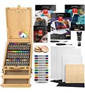 Arteza Acrylic Painting Art Set, Includes Acrylic Paint Set, Acrylic Markers, Easel, Canvases, Fo...