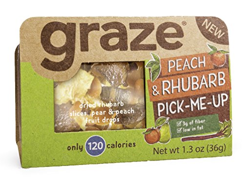 Graze Natural Peach and Rhubarb Pick-Me-Up Snack, with Rhubarb Slices, Pear and Peach Fruit Drops, Healthy, Natural Dried Fruits Trail Mix, 1.3 Ounce Box, 9 (Healthy Beach Snacks)