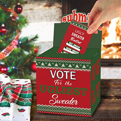 Ugly Sweater Ballot (ORIENTAL CHERRY ChristmasPartySupplies - Ugly Sweater Contest Ballot Box and 50 Voting Cards - Fun Navidad Xmas Decorations for Office Holiday Party Friends Get)