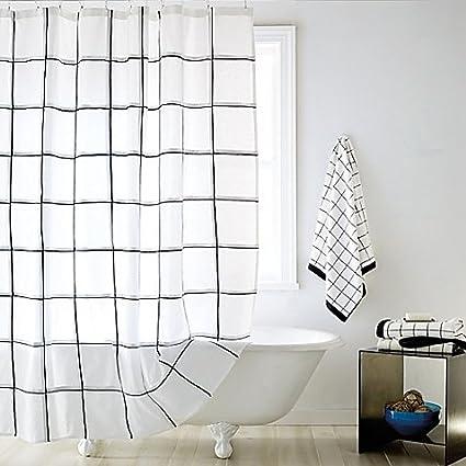 Amazon Shower Curtain Features A Subtle Black Grid Against