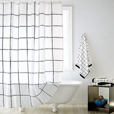Shower Curtain Features A Subtle Black Grid Against A Crisp White - Vegas Las Fashion Square
