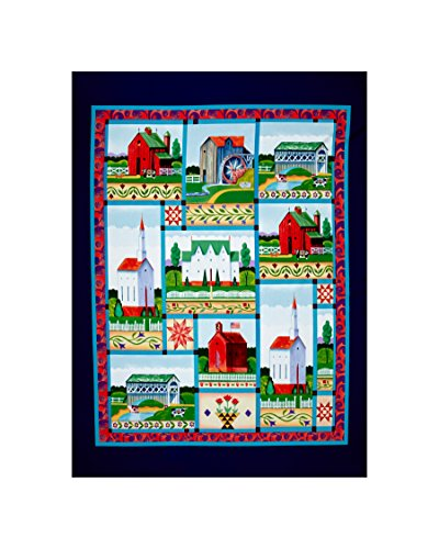 Springs Creative Products Jim Shore Village Farm 35 in. Panel Blue Fabric,