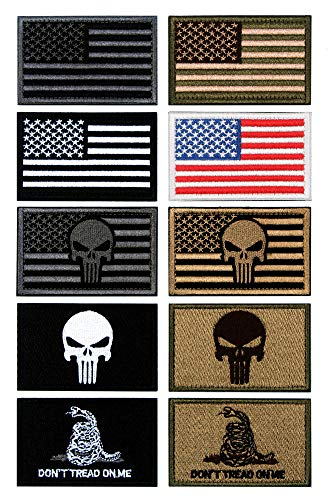 10 PCS Tactical Patches of USA US American Flag Punisher Dont Tread On Me Skull, with Hook and Loop for Backpacks Caps Hats Jackets Pants, Military Army Uniform Emblems, Size 3x2 Inches